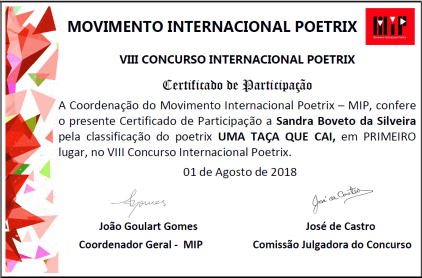 1° Lugar VIII Concurso Internacional Poetrix